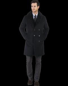 Black Angora & Cashmere Topcoat