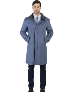Blue Cashmere with Shearling Lining