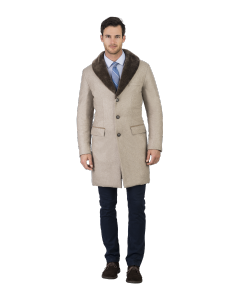 Tan Cashmere with Shearling Topcoat