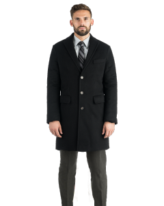 Slim Black Pure Cashmere Topcoat