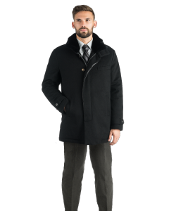 Black Cashmere with Fur Carcoat