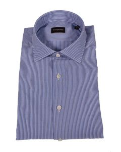 Ermenegildo Zegna Blue and White Cotton Shirt