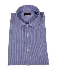 Ermenegildo Zegna Blue and White Cotton Shirt
