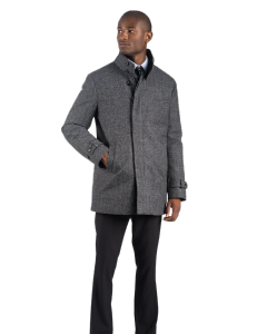 Grey Black Herringbone Carcoat