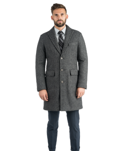 Slim Grey Herringbone Topcoat