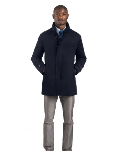 Smooth Navy Pure Cashmere Carcoat